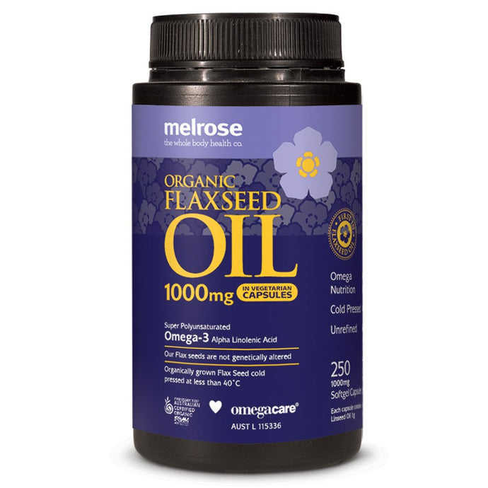 Melrose, Flaxseed Oil, Certified Organic, 1000 mg, 250 Vcaps