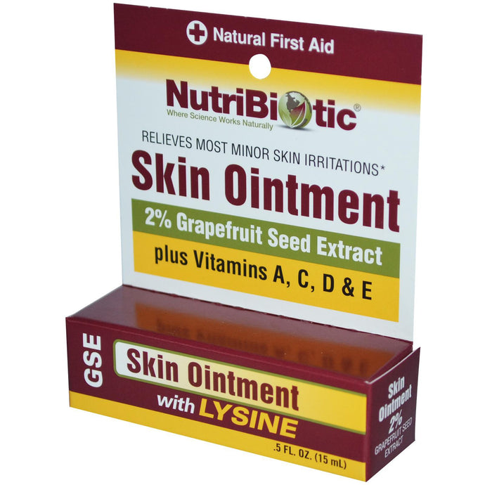 Nutribiotic, Skin Ointment, 2 % Grapefruit Seed Extract, with Lysine, 15 ml , 0.5 fl oz