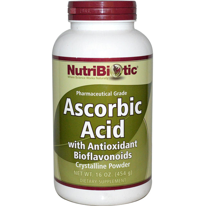 Nutribiotic, Ascorbic Acid, with Antioxidant Bioflavonoids, Crystalline Powder, 454 g, 16 oz