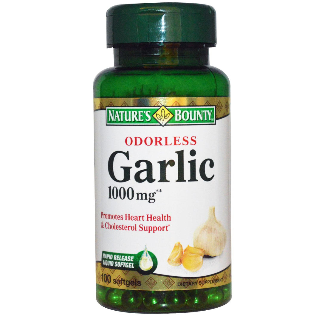Nature's Bounty, Odorless Garlic, 1000 mg, 100 Softgels