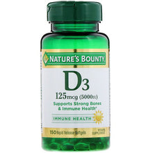 Load image into Gallery viewer, Nature's Bounty, D3, Immune Health, 125 mcg (5,000 IU), 150 Rapid Release Softgels