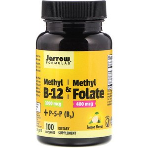 Jarrow Formulas, Methyl B-12 & Methyl Folate, Lemon Flavor, 1000 mcg / 400 mcg, 100 Lozenges