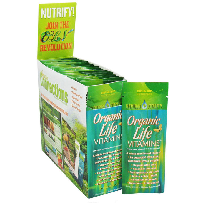 Natural Vitality, Organic Life Vitamins, Organic Fruit Flavours, 30 Nutrapacks, 29 ml