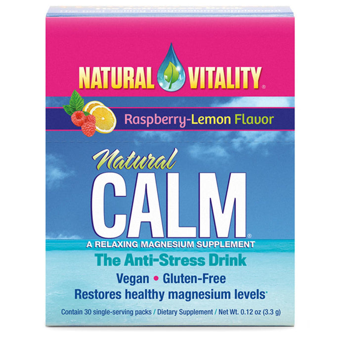 Natural Vitality, Natural Calm, A Relaxing Magnesium Supplement, Raspberry-Lemon Flavour, 30 Single Serving Packs 3.3 g