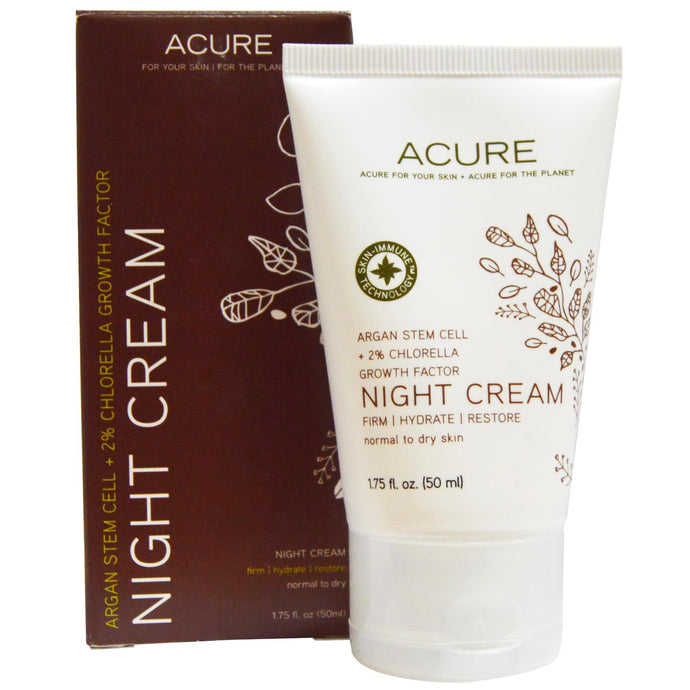 Acure Organics, Night Cream, Argan Stem Cell + 2 % Chlorella Growth Factor, 50 ml, 1.75 fl oz