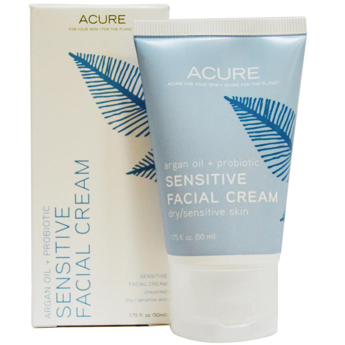 Acure Organics, Sensetive Facial Cream, Argan Oil + Probiotic, Unscented, 50 ml