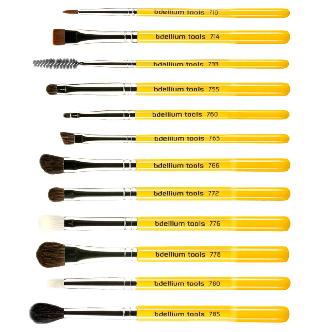 Bdellium Tools, Studio Line, Eyes Brush Set & Pouch, 12 Pieces