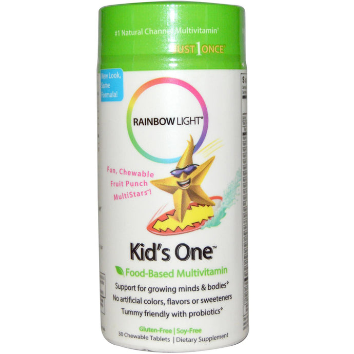 Rainbow LIght, Kid's One MultiStars, Food-Based Multivitamin, Fruit Punch, 30 Chewable Tablets