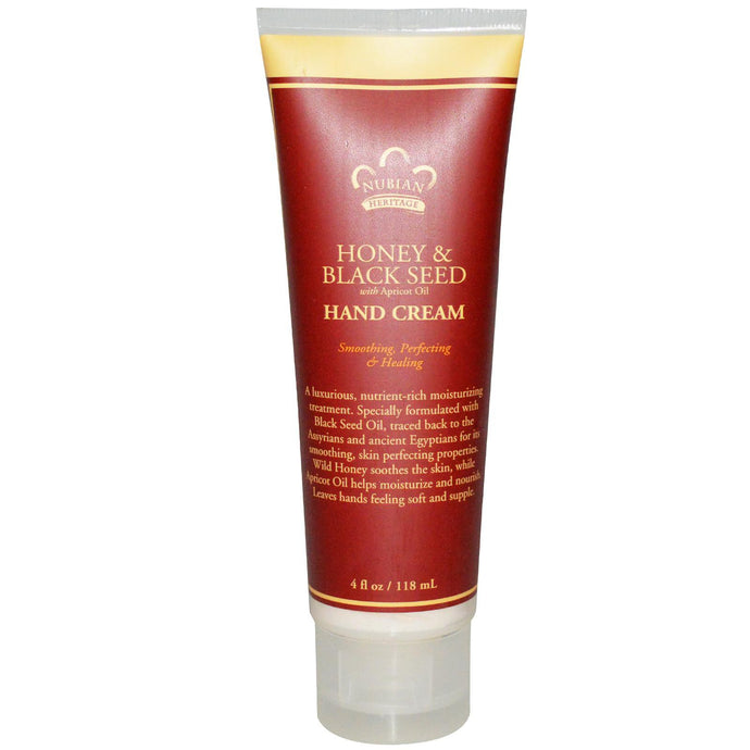 Nubian Heritage, Hand Cream, Honey & Black Seed, with Apricot, 118 ml