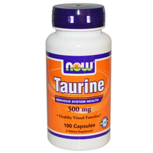 Load image into Gallery viewer, Now Foods Taurine 500mg 100 Capsules - Dietary Supplement