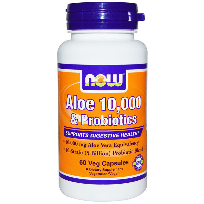 Now Foods Aloe 10,000 & Probiotics 60 Veggie Capsules