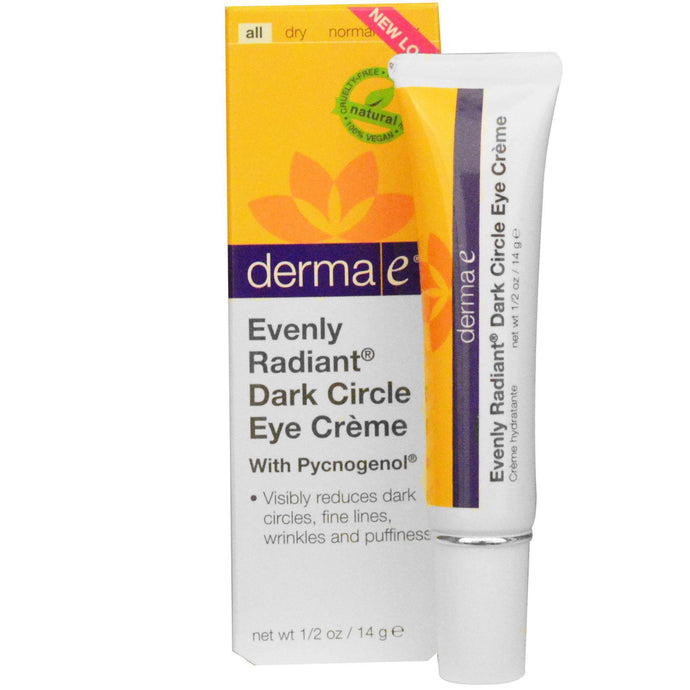 Derma E, Evenly Radiant Dark Circle Eye Cream, with Pycnogenol, 14 g