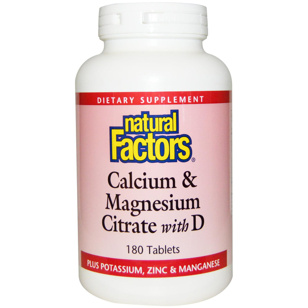 Natural Factors, Calcium & Magnesium Citrate, with D, 180 Tablets