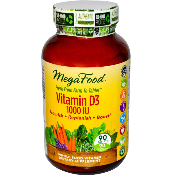 MegaFood, Vitamin D3, 1000 IU, 90 Tablets