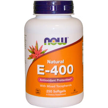 Load image into Gallery viewer, Now Foods, Natural E-400 With Mixed Tocopherols, 250 Softgels