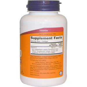 Now Foods, Natural E-400 With Mixed Tocopherols, 250 Softgels