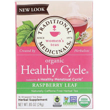 Load image into Gallery viewer, Traditional Medicinals, Women's Teas, Organic Healthy Cycle, Raspberry Leaf, Caffeine Free Herbal Tea, 16 Wrapped Tea Bags, .85 oz (24 g)