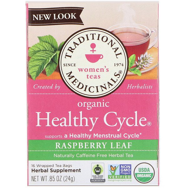 Traditional Medicinals, Women's Teas, Organic Healthy Cycle, Raspberry Leaf, Caffeine Free Herbal Tea, 16 Wrapped Tea Bags, .85 oz (24 g)