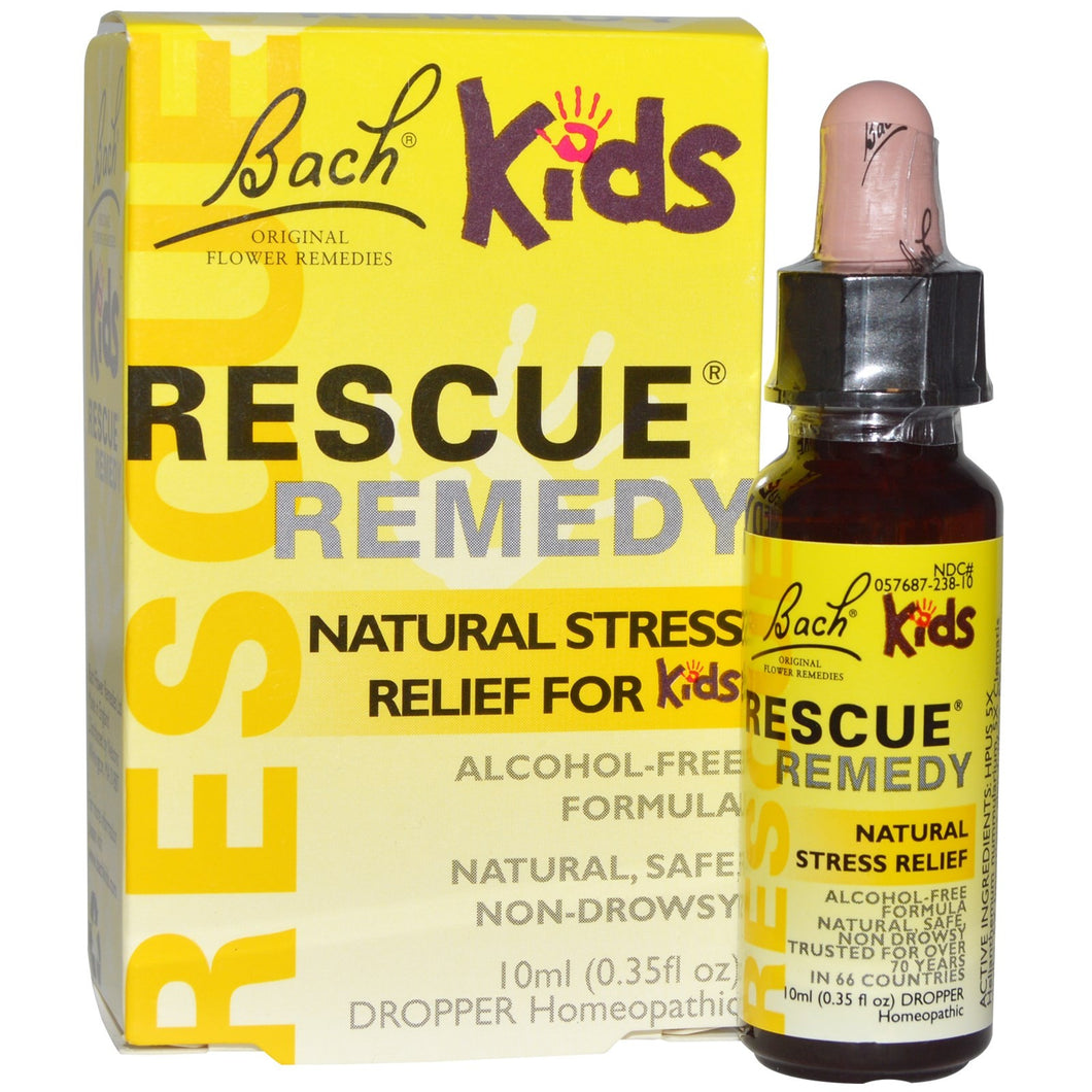 Bach, Original Flower Remedies, Rescue Remedy, Natural Stress Relief for Kids, Alcohol-Free Formula, 0.35 fl oz (10 ml) Dropper