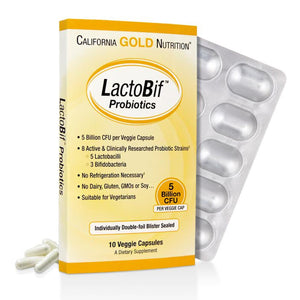 California Gold Nutrition, LactoBif Probiotics, 5 Billion CFU, 10 Veggie Caps