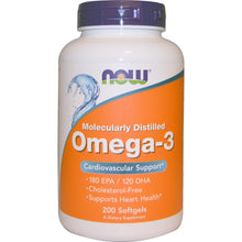 Load image into Gallery viewer, Now Foods, Omega-3, Cardiovascular Support, 200 Softgels
