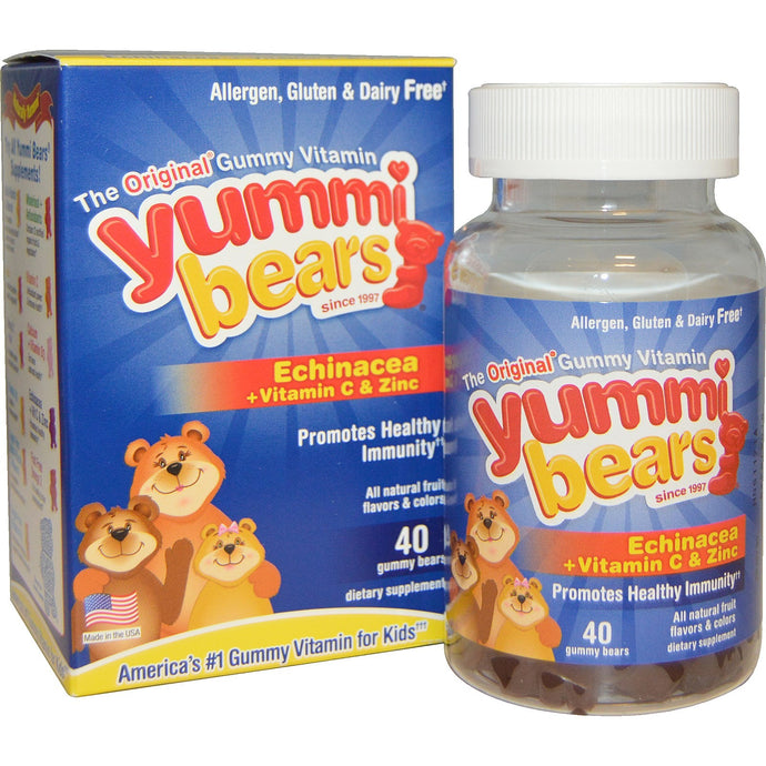 Hero Nutritional Products, Yummi Bears, Echinacea + Vitamin C & Zinc, 40 Gummy Bears