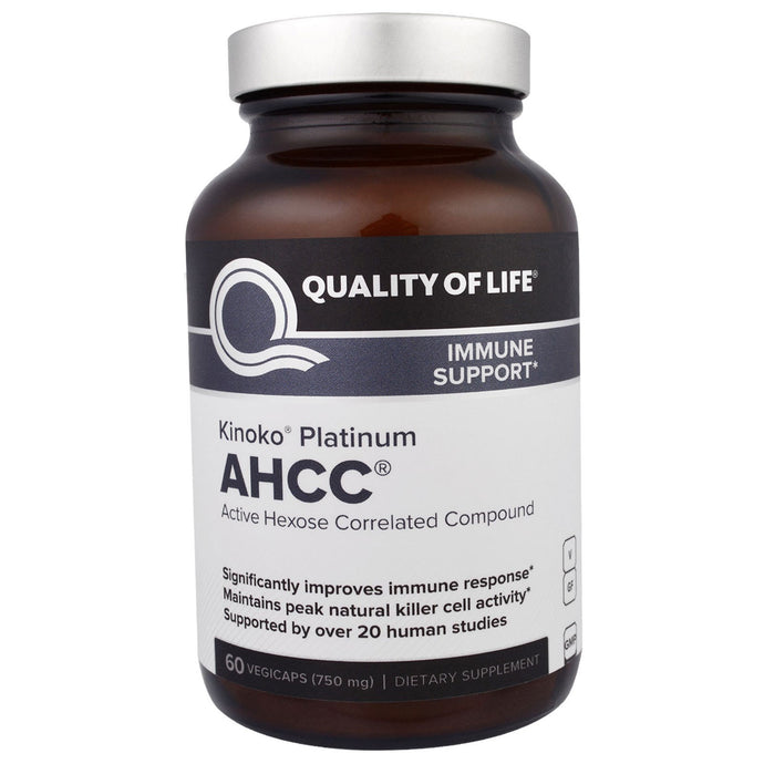 Quality of Life Labs, Kinoko Platinum AHCC, Immune Support, 750 mg, 60 Veggie