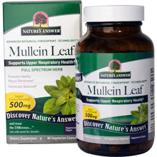 Load image into Gallery viewer, Nature's Answer, Mullein Leaf, 500mg, 90 Veggie Caps