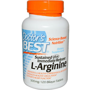 Doctor's Best L-Arginine 500mg 120 Bi-Layer Tablets