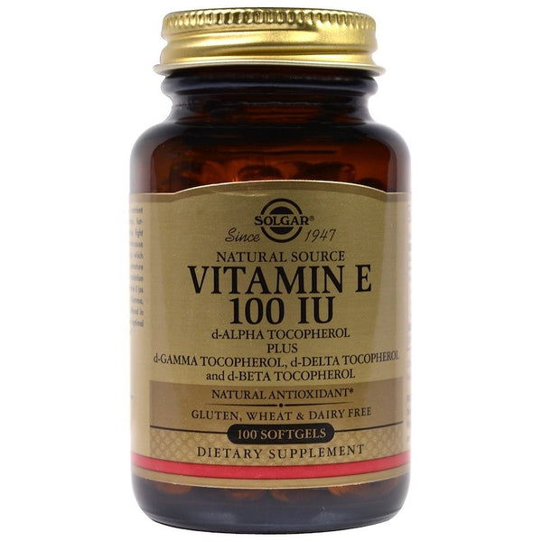 Solgar, Natural Vitamin E, 100 IU, d-Alpha Tocopherol & Mixed Tocopherols, 100 Softgels