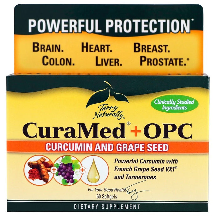 EuroPharma, Terry Naturally, CuraMed + OPC, Curcumin and Grape Seed, 60 Softgels