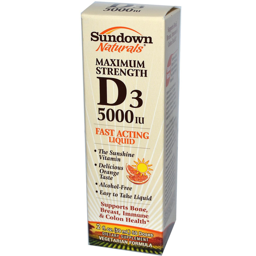Rexall Sundown Naturals, Maximum Strength D3, Fast Acting Liquid, 5000IU, 59ml