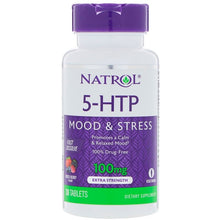 Load image into Gallery viewer, Natrol, 5-HTP, Fast Dissolve, Extra Strength, Wild Berry Flavor, 100 mg, 30 Tablets