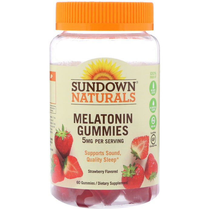 Sundown Naturals, Melatonin Gummies, Strawberry Flavored, 5 mg, 60 Gummies