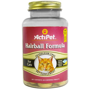 Actipet, Hairball Formula, For Cats, Natural Tuna & Chicken Flavor, 60 Chewable Tablets