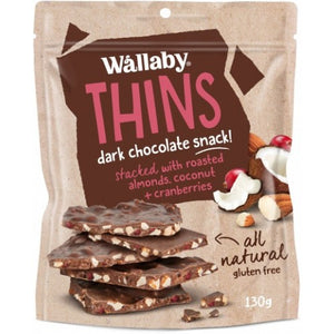 Wallaby Thins Almond Coconut Cranberry 130g