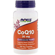 Load image into Gallery viewer, Now Foods, CoQ10, 30 mg, 120 Veg Capsules