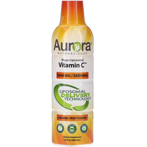 Aurora Nutrascience, Mega-Liposomal Vitamin C, Organic Fruit Flavor, 3,000 mg, 16 fl oz (480 ml)