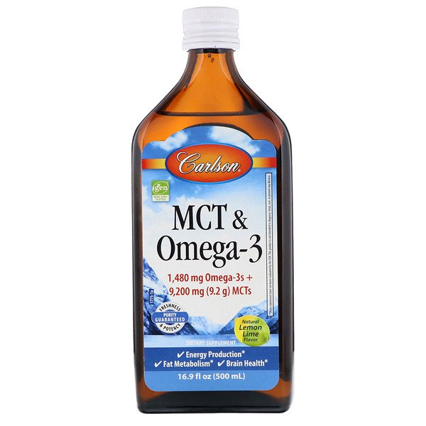 Carlson Labs, MCT & Omega-3, Natural Lemon Lime, 16.9 fl oz (500 ml)