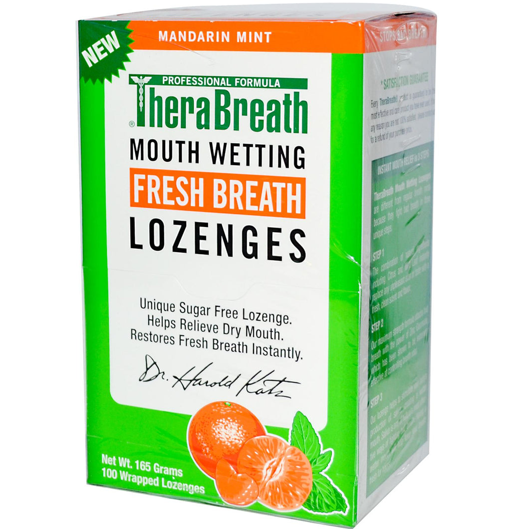 Therabreath, Mouthwatering Fresh Breath Lozenges, Mandarin Mint, 100 Wrapped Lozenges (165g)