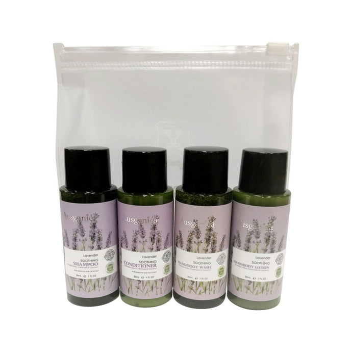 Ausganica, Hair & Body Travel Kit Soothing Lavender, 30ml X 4 Pack (Shampoo, Conditioner, Wash & Lotion)