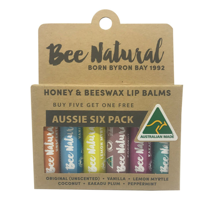 Bee Natural, Lip Balm Stick Aussie, 4.5ml X 6 Pack (Contains:, 1 Of Each Flavour)