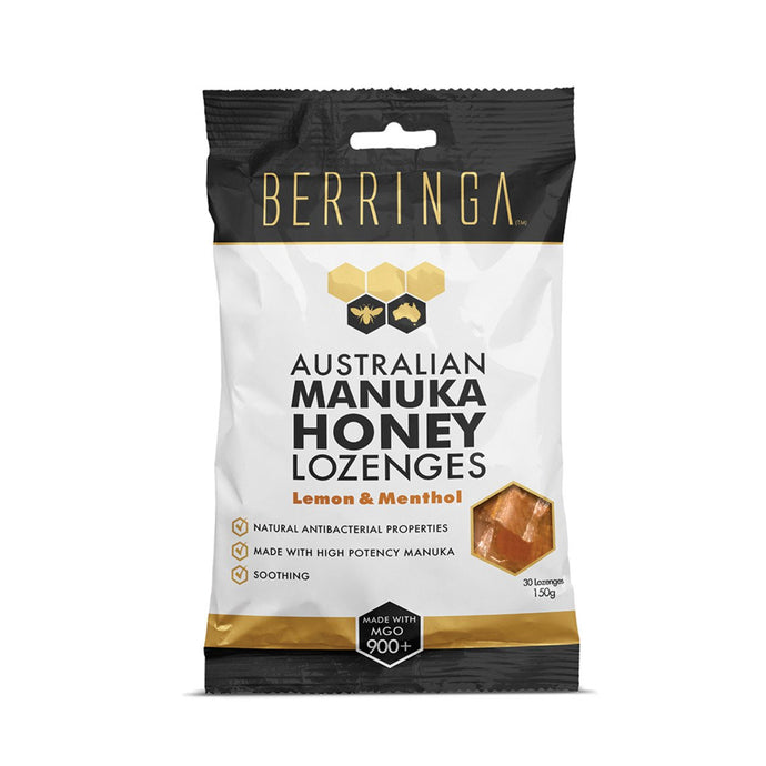 Berringa, Australian Manuka Honey Lozenges Lemon & Menthol (Made With Mgo, 900+) X 30 Pack, 150g