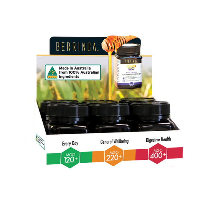 Berringa, Australian Manuka Honey Mixed, 100g X 6 Display (Mgo120+, Mgo220+ & Mgo400+)
