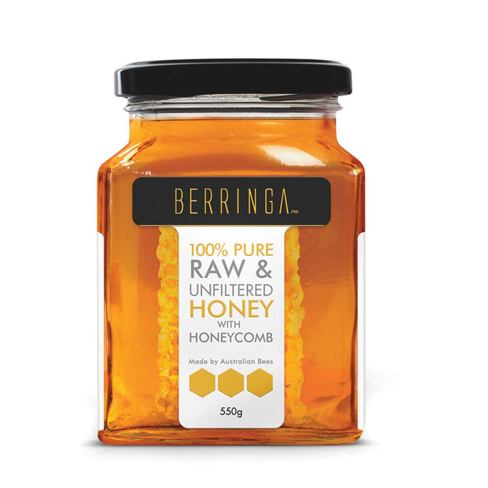 Berringa, Australian Pure Raw & Unfiltered Honey With Honeycomb, 550g