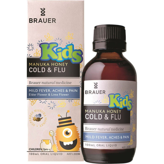 Brauer, Kids Manuka Honey Cold & Flu For Mild Fever Aches & Pains, 100ml