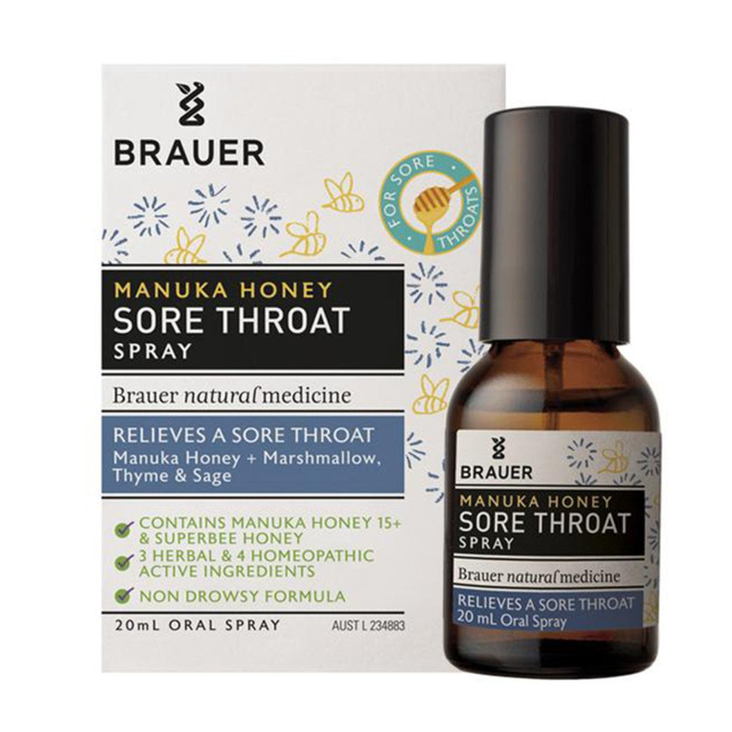Brauer, Manuka Honey Sore Throat Spray, 20ml