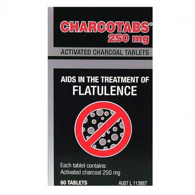 Charco, Activated Charcoal Tabs 250mg, 60 Tablets