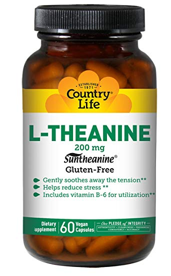 Country Life, Gluten Free, L-Theanine, 200 mg, 60 VCaps
