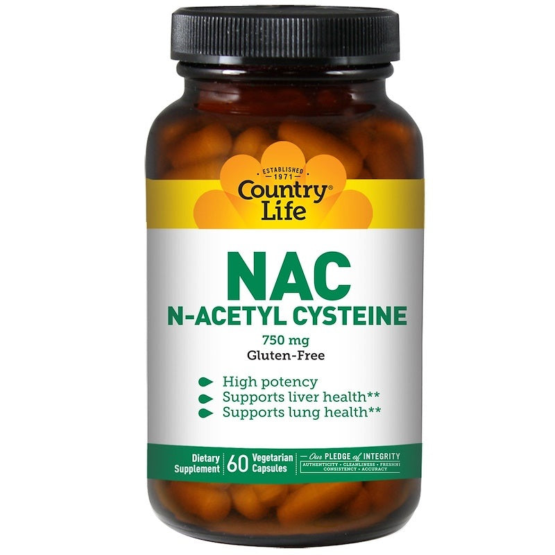 Country Life, Gluten Free, NAC, N-Acetyl Cysteine, 750 mg, 60 Veggie Capsules
